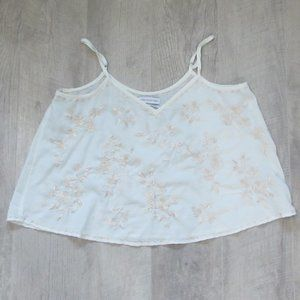 Urban Outfitters Cream Embroidered Crop Tank Sz M